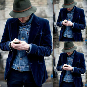 2-teilig Blau Samt Herren Anzüge Blazer Jacke Hochzeit Bräutigam Smoking Hose