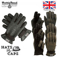Harris Tweed Mens Gloves Leather Palms Gents Luxury Fully Lined Warm Quality