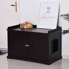 New listing Pawhut 2-in-1 Cat Hidden Litter Box Washroom Storage Bench Home Decor Espresso