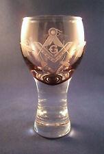 Logen-Glas Kanone m. Freimaurer-Motiv Freemason Glass