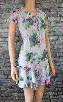Size 16 Ellos Blue Floral Print Cotton Tea Summer Dress Womens/Ladies/NEW