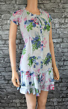 Size 16 Ellos Blue Floral Print Cotton Tea Summer Dress Womens/Ladies/NEW