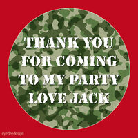 Personalised Army Camouflage Birthday Stickers Party Thank You Seals COD- 138