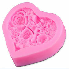 Heart with Flowers Silicone Mold for Fondant, Gum Paste, Chocolate, Crafts