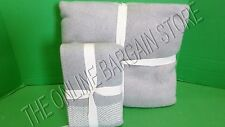 Pottery Barn West Elm Cozy Border Stripe Bed Blanket Twin Euro Sham Gray Ivory