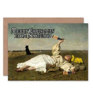 Alternative Christmas Xmas Chelmonski Drunk Scots Blank Greeting Card