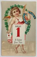 New Year Postcard Winged Child Floral Horseshoe Unionville MO 1909 Made Germany