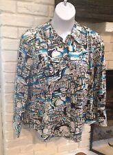 Lane Bryant Womens Top Shirt Blouse Size 22/24 Button Up Long Sleeve City Print