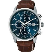 Lorus Men's 42mm Brown Leather Band Steel Case Quartz Blue Dial Watch Rm337dx9