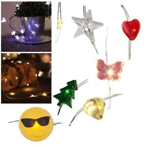 Micro LED Draht-Lichterkette 15 Motive Mini-LEDs mit Batterie-Betrieb für Innen