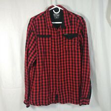 parish mens 2xl flannel shirt button up buffalo plaid red black long sleeve