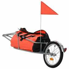 vidaXL Remolque Bicicleta Carga Bolsa Equipaje Naranja Negro Carro Transporte