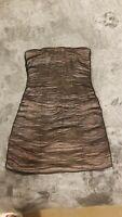 Strapless Bb dakota size 8 black mesh over Beige pink Dress
