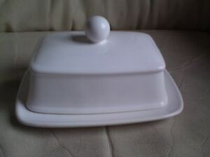 WHITE CERAMIC BUTTER DISH,USED.