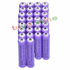 30pcs AAA 3A 1800mAh 1.2V Ni-MH Rechargeable Battery Cell Purple for Camera Toys