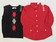 NEW BOYS' THE CHILDREN'S PLACE L/S BUTTON DOWN SHIRT AND SWEATER VEST, X-SMALL 4