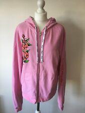 Ed Hardy Christian Audigier Designer  Pink Floral Zip Up Hoodie Size Medium