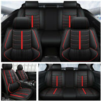 5-Seats Car Seat Cover Leather Full-enclosed Vest Seat Cushion Front+Rear Set