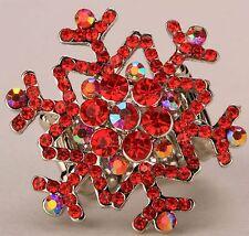 Red Snowflake Stretch Ring Crystal Rhinestone Fashion Jewelry Gift RD13