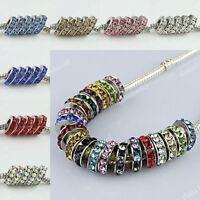 Sparkle Rhinestone Crystal Platinum Spacer Charms Beads Fit European Bracelet