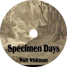 Specimen Days, Walt Whitman His Life Adventures Audiobook on 1 MP3 CD