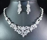Elegant Austrian Rhinestone Necklace Earrings Ring Bracelet Set Bridal Prom N63