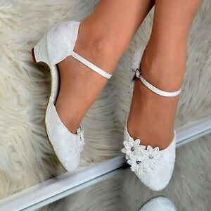 Ladies Low Kitten Heel Ivory Bridal Floral Lace Crystal Mary Jane Wedding Shoes