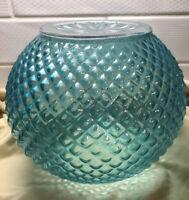 """Hobnail Teal Globe Pendant Swag Glass Light Shade vtg Lg """" Fitter RARE"""