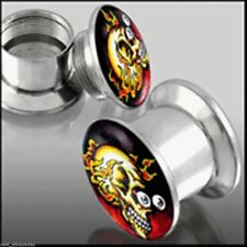 Ear Plugs By Pair GA3G Screw On Anodized Surgical Steel Yellow Gold Ear Tunnel