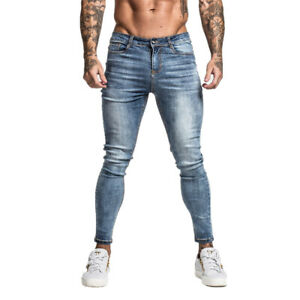 GINGTTO Men Skinny Denim Jeans Washed Blue Slim Fit Stretch Trousers