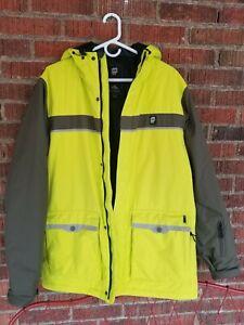 Orage Men's Bright Neon Yellow Insulated Waterproof Snow Board Ski Jacket Sz L