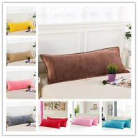 1.2/1.5M Solid Couples Velvet Soft Long Body Pillow Cover Protector Pillowcase