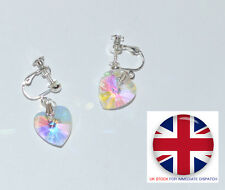 Sparkly Crystal Clip-On Earrings Non Pierced Heart Shaped Screwback E21