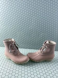NWB Sperry Top-Sider SALTWATER Blush Leather/Rubber Rain Boots Women's Size 5.5M