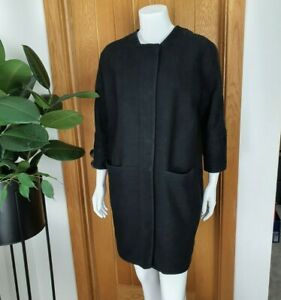 Whistles Amelie Cocoon Coat XS UK 6 8 Black 3/4 Cuff Sleeve RRP £250 Cotton