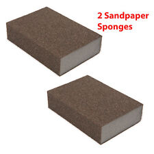 2 PCS Polishing Sanding Sponge Block Pad Sandpaper on Metal, Wood, Drywall, More
