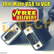 10M VGA SVGA Monitor Cable LCD PC Male to Male D SUB 15 PIN Free Irish Delivery