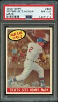 1959 Topps BB Card #465 Roy Sievers Sets Homer Mark BB THRILLS PSA NM-MT 8 !!!