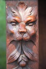 19C Victorian Carved Oak Mythological Gargoyle/Lion Open Breakfront Bookcase