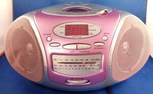 Durabrand Portable Stereo Boom Box Ghetto CD-109 Pink Silver 6ft cord preowned