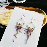 ❤ Crystal Rhinestone Flower Tassel Ear Stud Long Dangle Drop Fringed Earrings❤