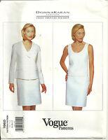 Vogue 1960 Designer Donna Karan Jacket Tank Skirt Suit Pattern Sz 8 10 12 Uncut