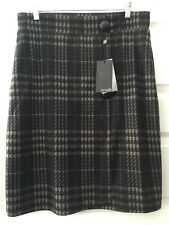 Analili Black Taupe Houndstooth Pull On Stretch Knit Knee Length Lined Skirt XL