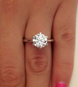 2.00 CT ROUND CUT F/VS1 DIAMOND SOLITAIRE ENGAGEMENT RING 18K WHITE GOLD