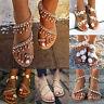 Women Bohemian Flat Sandals Toe Rhinestone Flowers Flip Flops Summer Beach Shoes