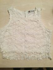 Ladies TEMT Fully Lined Zippered Back Lace Appliqué Crop Top Size M