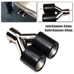 ID:63mm OD:89mm Dual Exhaust Tail Pipe Carbon Fiber Universal Dual Muffler Tip