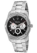 BULOVA 96E115 MEN'S DRESS DIAMONDS ON BEZEL BLACK DIAL DAY&DATE ST. STEEL WATCH
