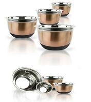 Copper Stainless Steel Mixing Bowl Set W/ Silicone Bottoms 4 Piece Nested Bowls