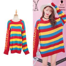 Women Knitted Colorful Sweater Autumn Rainbow Stripe Long Sleeve Pullover Top